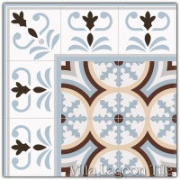 Valvanera Celeste Border with Beltri Celeste Field Tile