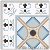 Valvanera Celeste Border with Montaner Azul Field Tile