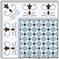 Valvanera Celeste Border with Palau Celeste Field Tile