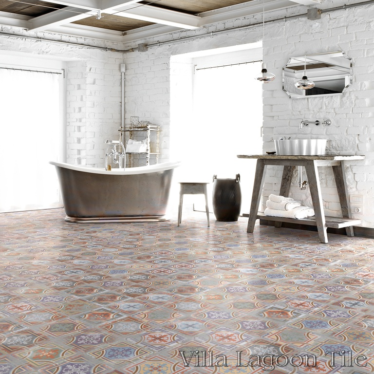Elegant Comillas Patchwork bathroom floor.