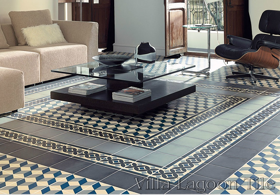A living room with Güell Cubes, Border, and matching solid tiles.