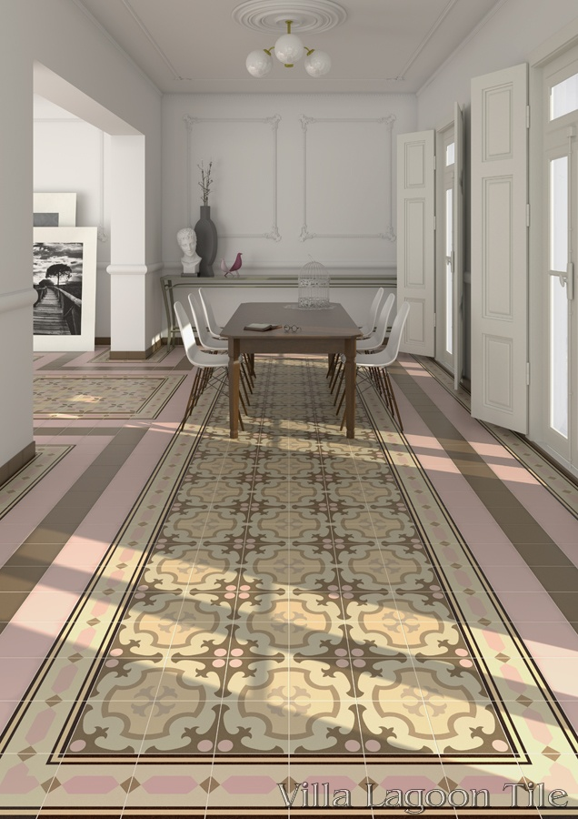 Ordal Neopolitan in an apartment, bordered by Roura Neopolitan and solid color tiles.