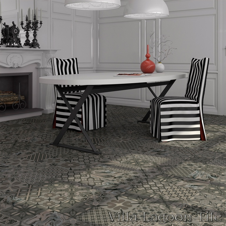 Patchwork Grafito dining room floor.