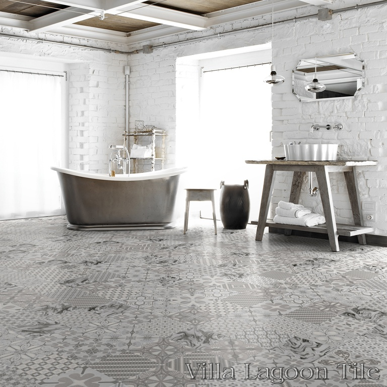 Patchwork Perla bathroom floor.