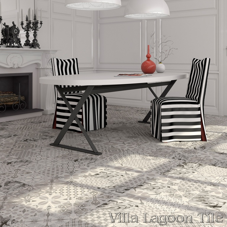 Patchwork Perla dining room floor.