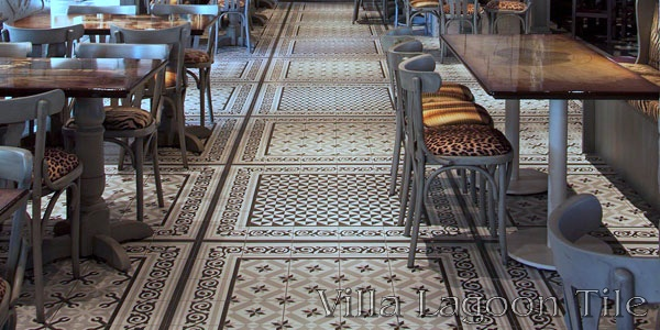 Intricate Restaurant Floor Layout with sections of Terrades Grafito, Llagostera Gris and Calvet Gris bordered by Gilbert Gris