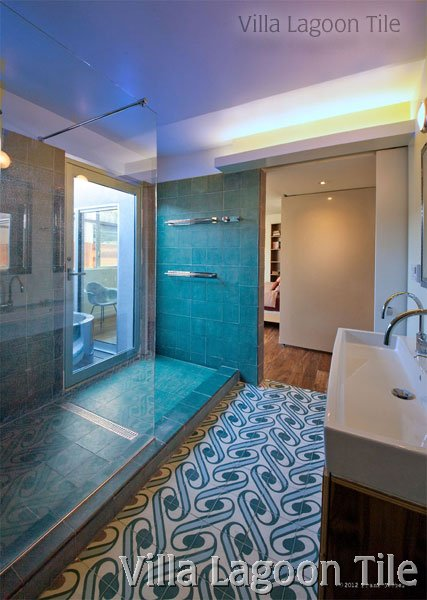 bathrooms with cement tile