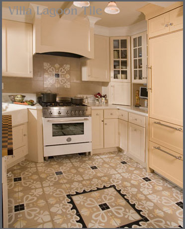 Kitchen installations of cement tile villa lagoon tile for Cement tiles for kitchen
