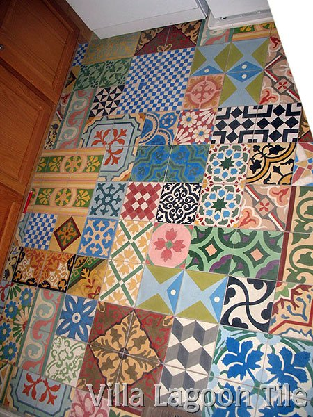 Encaustic Cement Tile Patchwork Installations Villa