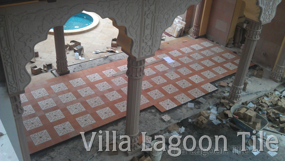 Residential encaustic cement tile installations villa for Encaustic tile dallas