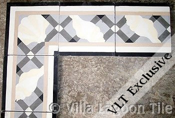 Cement tile borderin greys
