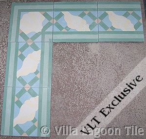 Trellis Shell Border Aqua Strike off tile