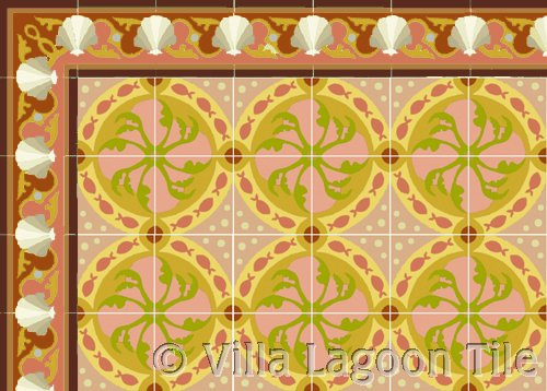 Shell Scroll cement tile border in coral
