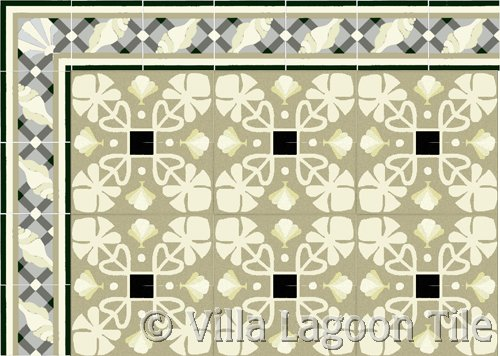 trellis shell border tile in antique
