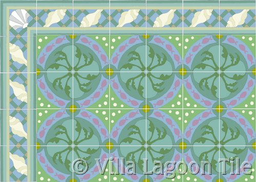 tropical flooring tile with underwater scenes
