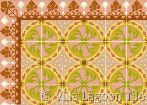 fish design tile and sea shell border tile