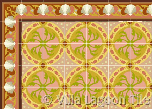 floor tile with fish design and sea shell border