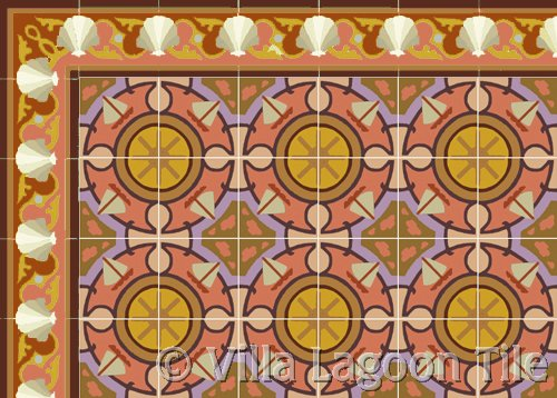 Shell Scroll Border Tile in Coral Sailboat Tile in Coral cement tile