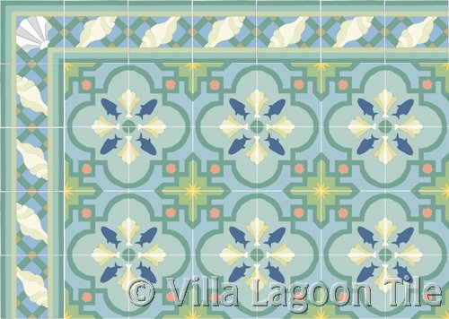 sea shell tile design rug