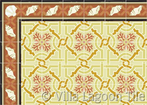 Trellis Shell Russet Border Cement Tile with Venetian Sunset Tile