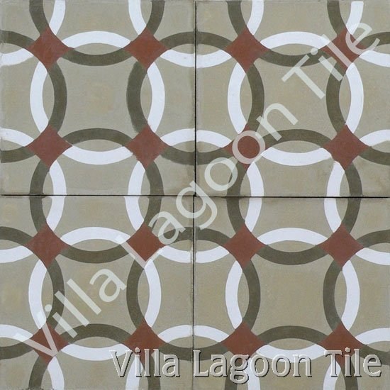 Anillos pattern cement tile with circles