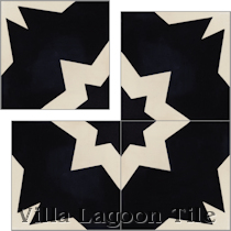 """Comino Black & Alabaster"" Cement Tile"
