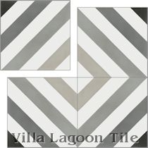 """Diagonal Eight Shades of Gray"" Cement Tile"