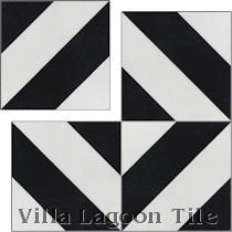 """Diagonal Four A Black and White"" Cement Tile"