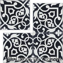 """Gypsy Black & White"" Cement Tile"
