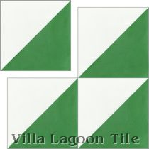"""Man Overboard Green & White"" Cement Tile"