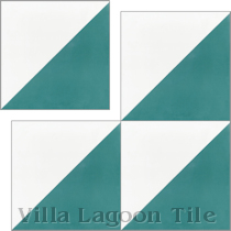 """Man Overboard Teal & White"" Cement Tile"