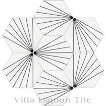 """Spark C Black and White Morning"" Hex Cement Tile"