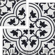 """Tulips B Black and White Morning"" Cement Tile"