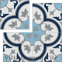"""Tulips B Ice"" Cement Tile"