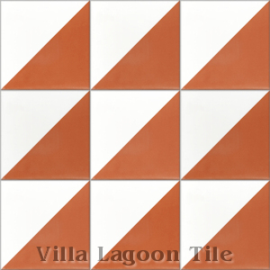 """Man Overboard Terracotta & White"" Cement Tile, from Villa Lagoon Tile."