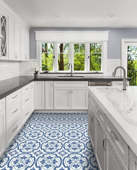 Danielle Admiral cement tile, from Villa Lagoon Tile.