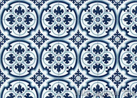 Danielle Navy cement tile, from Villa Lagoon Tile.