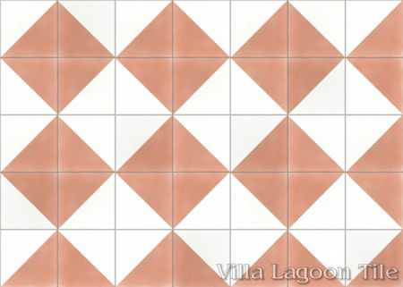 Man Overboard Coral & White cement tile, from Villa Lagoon Tile.