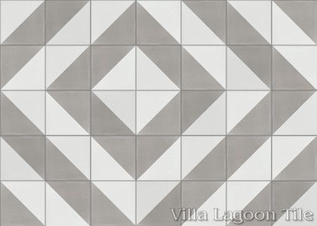 Man Overboard Featherstone & White cement tile, from Villa Lagoon Tile.