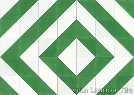 Man Overboard Green & White cement tile, from Villa Lagoon Tile.