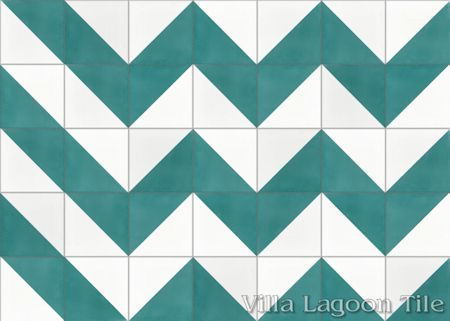 Man Overboard Teal & White cement tile, from Villa Lagoon Tile.