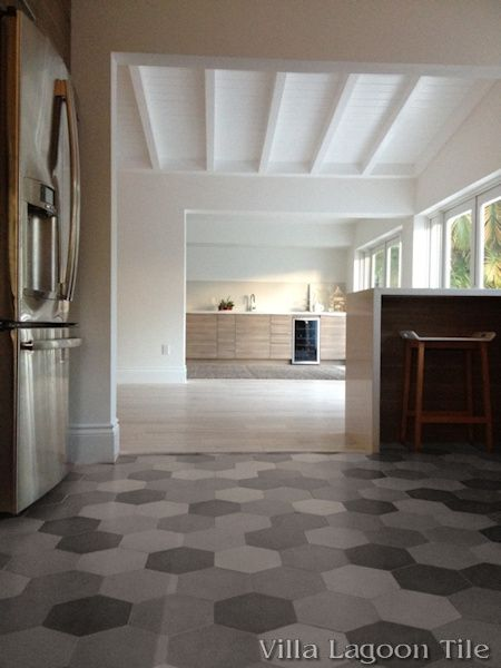 Mixed Gray Hex Cement Tile kitchen floor, from Villa Lagoon Tile.