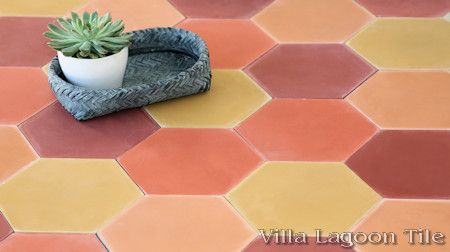 Mixed Sunset Hex Cement Tile, from Villa Lagoon Tile.