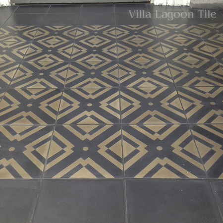 two color cement tile black and gold Manhattan perfect for fopyers and entryways