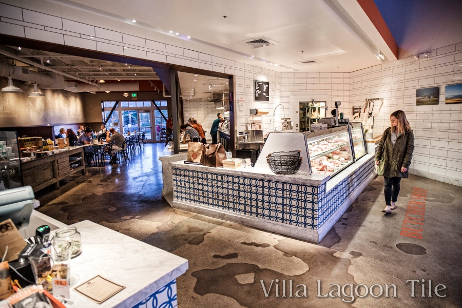 "Installation of ""Omni"" cement tile from Villa Lagoon Tile at Belcampo Meat Company."