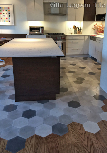 Mixed Gray Hex cement tile New York kitchen, from Villa Lagoon Tile.