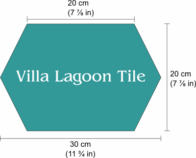 "Dimensions labeled for 20cm (8"") hex. 20cm or 7 and seven-eights inches between parallel sides, 23.1cm or 9 and one-eighth inches between distant points."