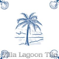 tile with palm tree in blue and white delft style