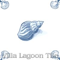 tile with whelk sea shell