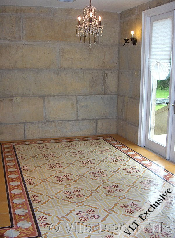 """Shell Scroll Border"" Cement Tile, from Villa Lagoon Tile."